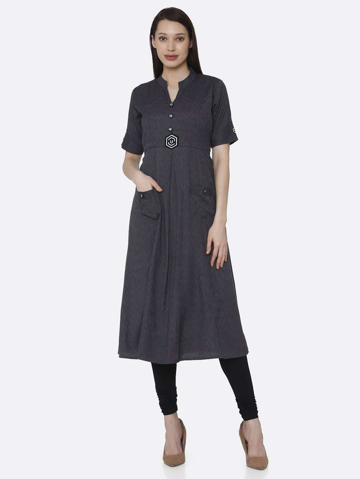 Front Side Grey Solid Cotton A-Line Dress With Black Leggings
