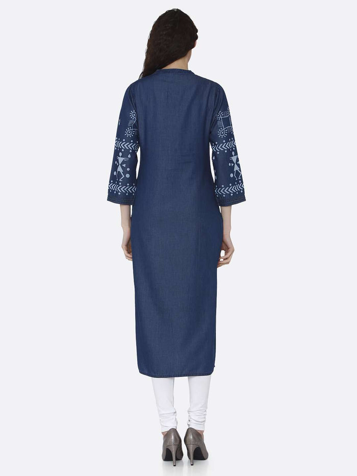 Back Side Navy Blue Printed Cotton Denim Kurti With White Palazzo Pant