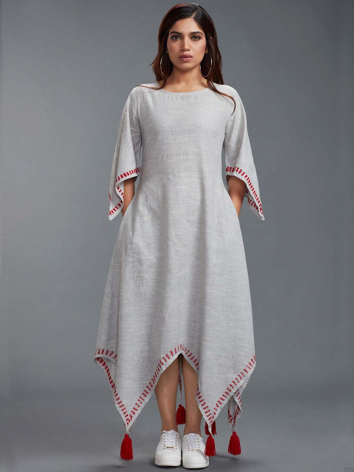 Grey Solid Cotton Dress with Handkerchief Hem
