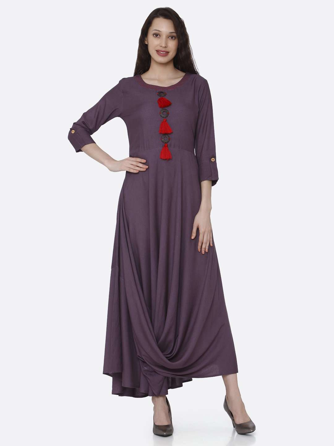 Front Side Purple Solid Rayon  A-Line Dress
