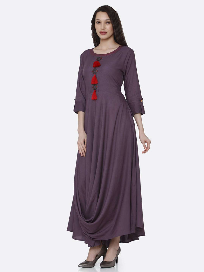 Left Side Purple Solid Rayon  A-Line Dress