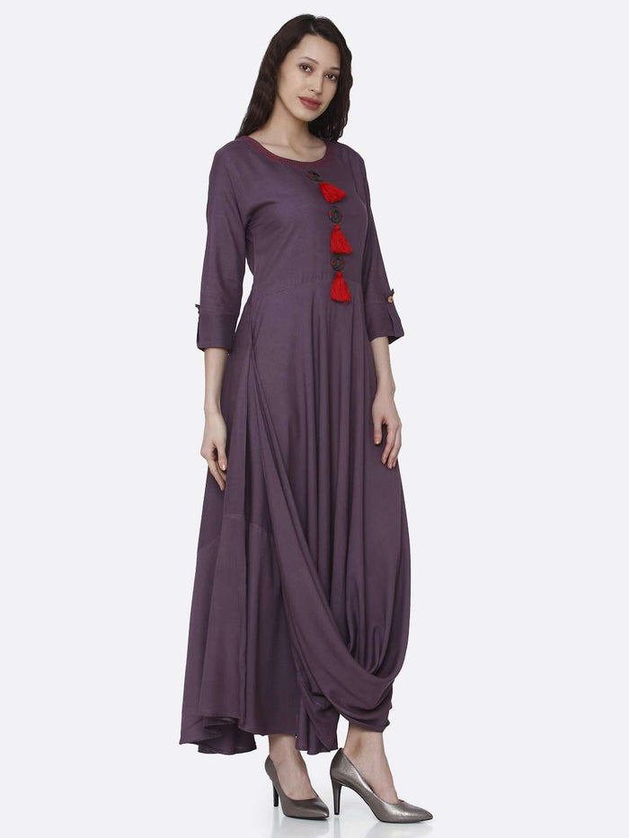 Right Side Purple Solid Rayon  A-Line Dress