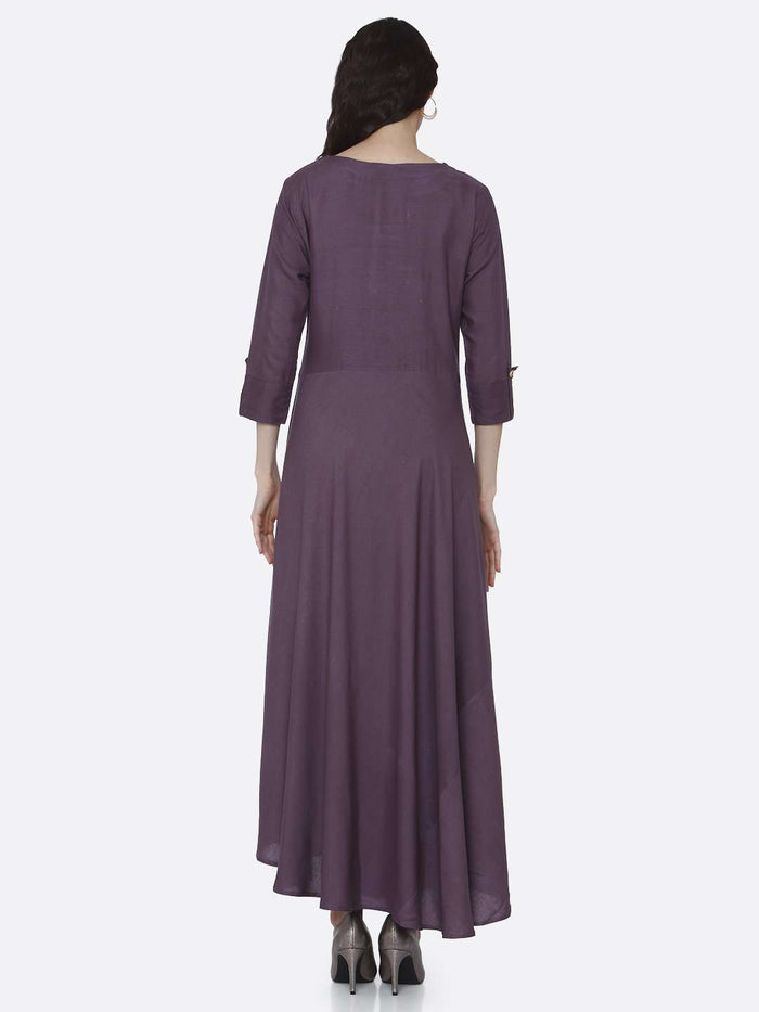 Back Side Purple Solid Rayon  A-Line Dress