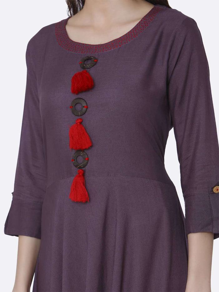 Front Side Solid Rayon A-Line Dress With Purple Color