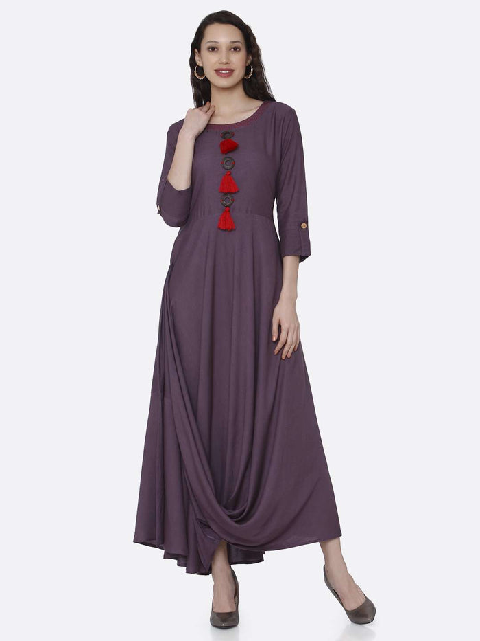 Casual Purple Solid Rayon  A-Line Dress