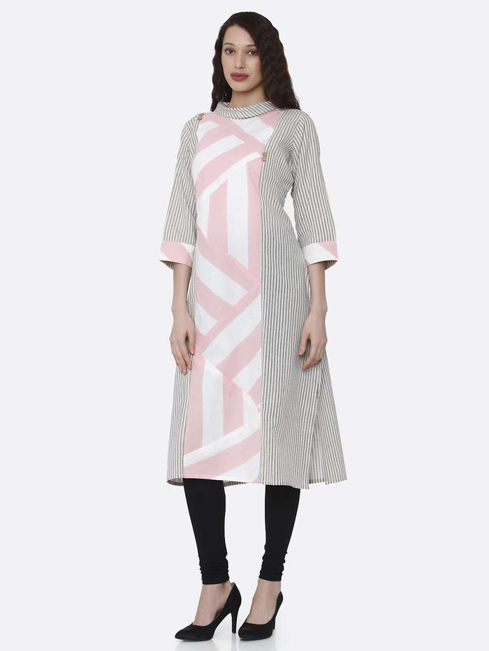 Front Side Grey and Pink Printed Cotton Kurti