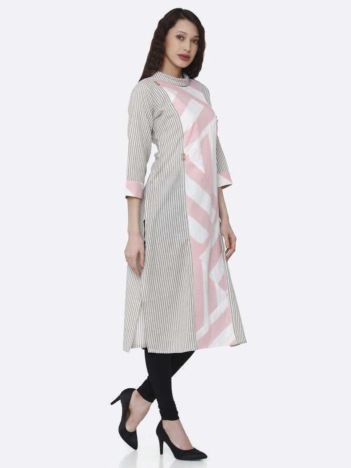 Right Side Grey and Pink Printed Cotton Kurti With Black Palazzo Pant
