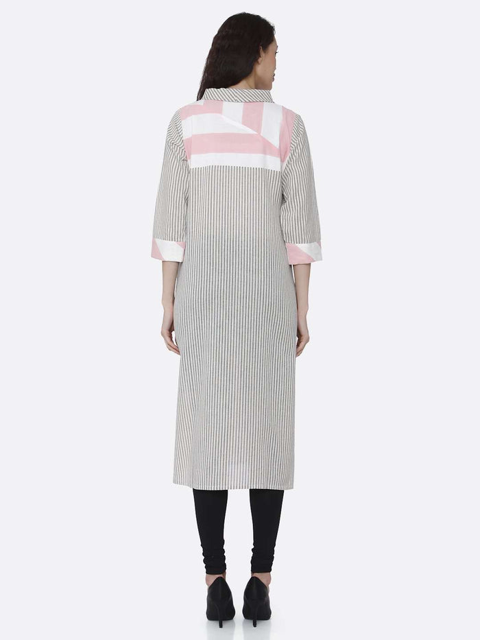 Back Side Grey and Pink Printed Cotton Kurti With Black Palazzo Pant