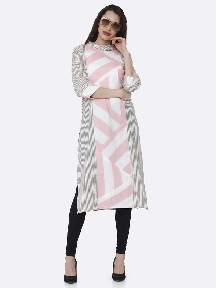 Casual Grey and Pink Printed Cotton Kurti With Black Palazzo Pant