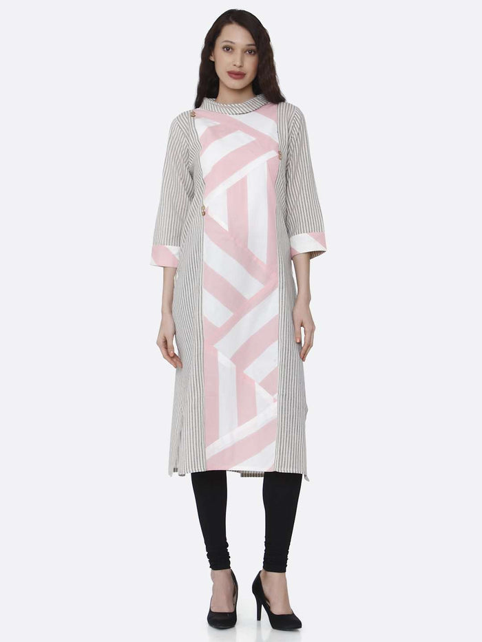 Front Side Grey and Pink Printed Cotton Kurti With Black Palazzo Pant