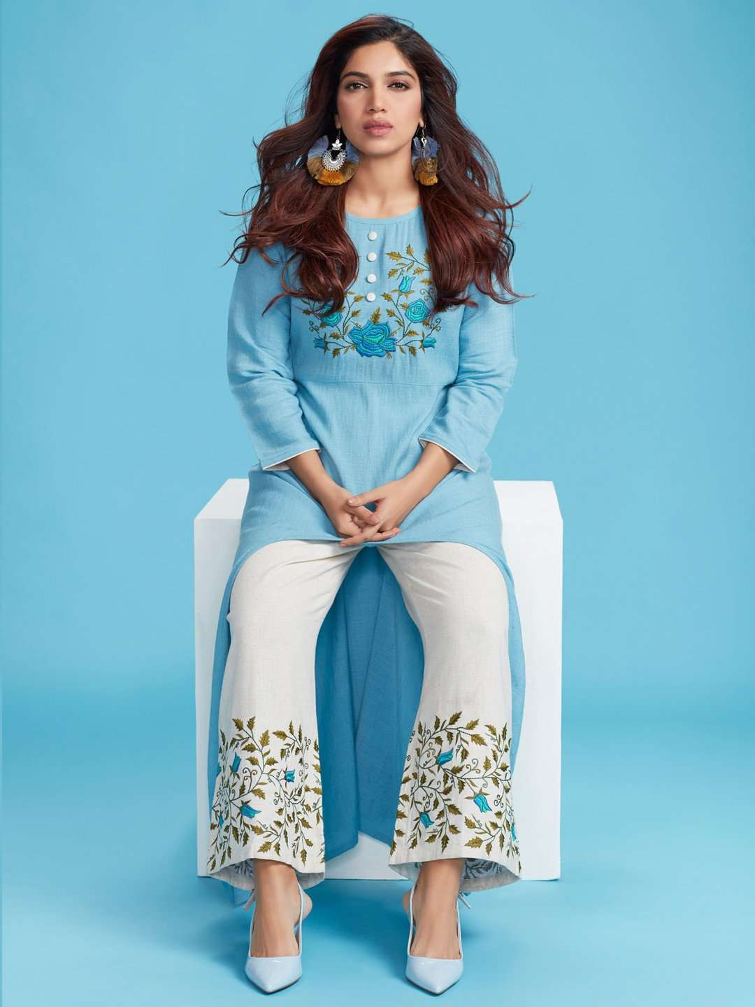 Light Blue & Off-white Embroidered Cotton Kurti Palazzo Set