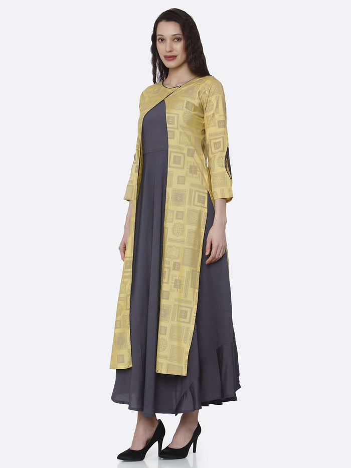 Left Side Grey And Yellow Printed Cotton A-Line Dress