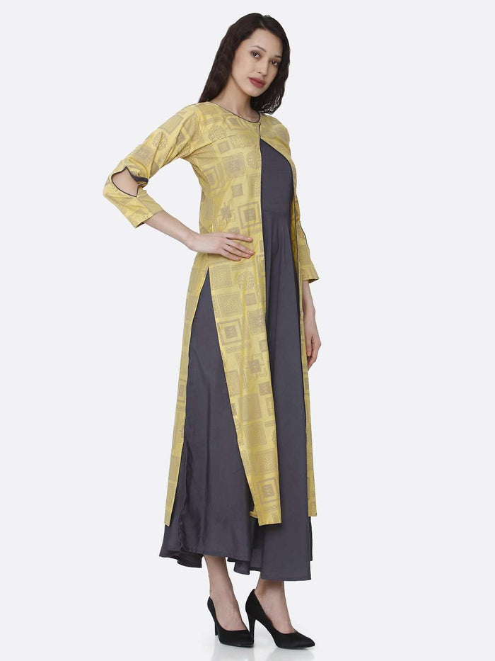 Right Side Grey And Yellow Printed Cotton A-Line Dress