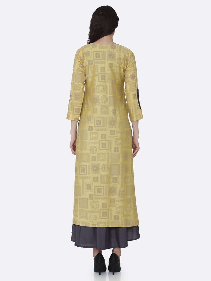 Back Side Grey And Yellow Printed Cotton A-Line Dress