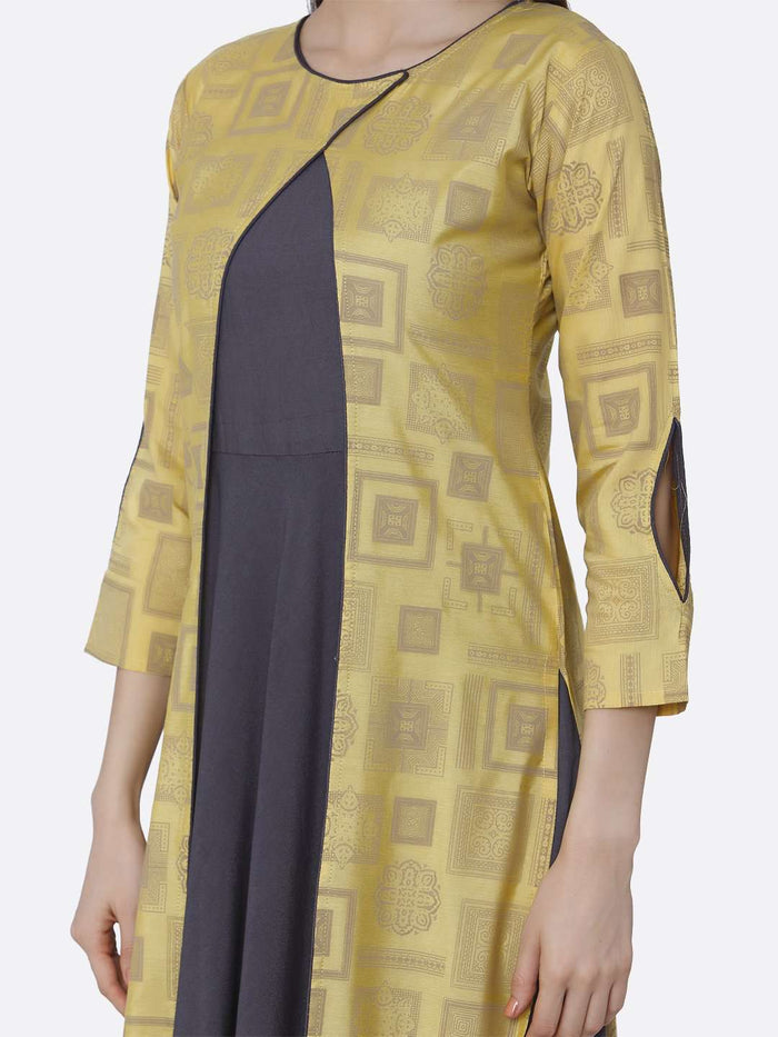 Left Side Printed Cotton A-Line Dress With Grey & Yellow Color