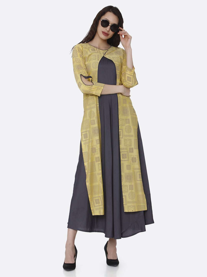 Casual Grey And Yellow Printed Cotton A-Line Dress