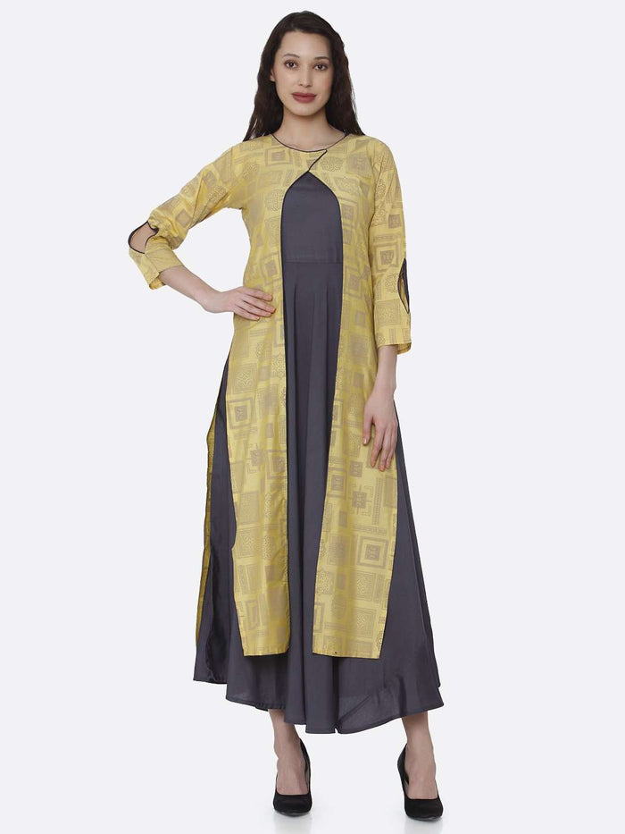 Front Side Grey And Yellow Printed Cotton A-Line Dress