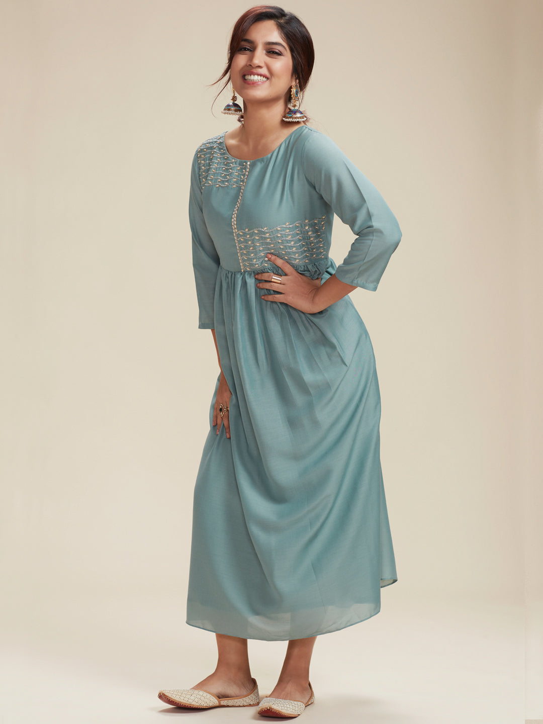 Light Blue Embroidered Viscose Plain Long Kurti