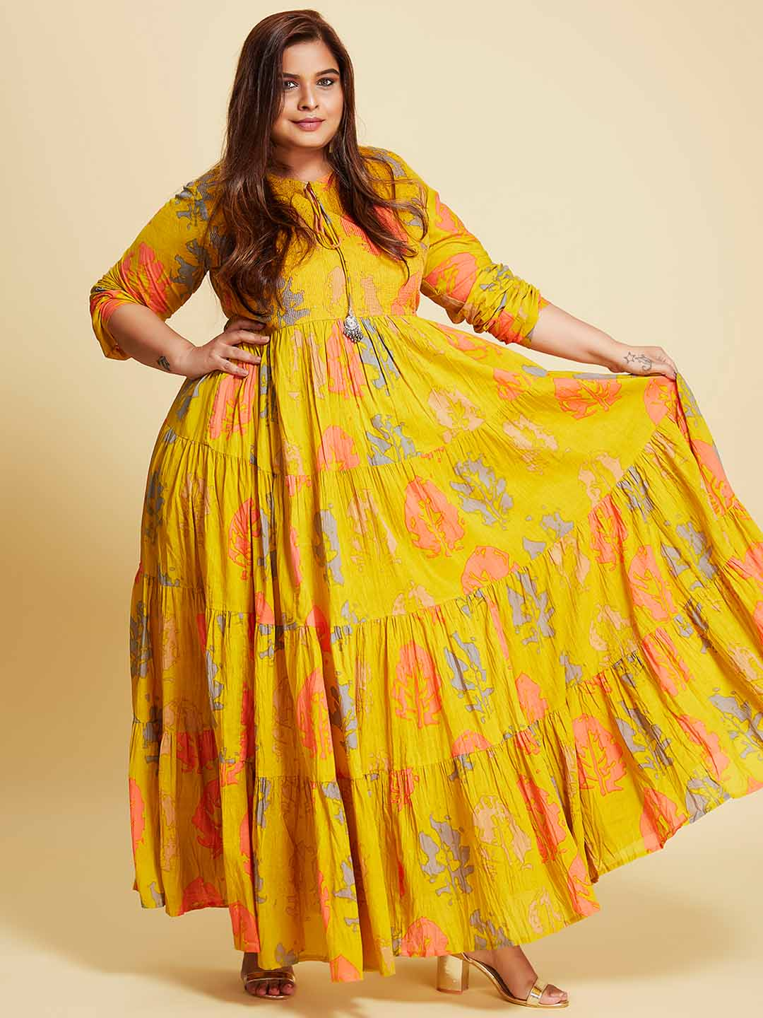 Front Side Mustard Cotton Printed Flared Maxi Dress Plus Size