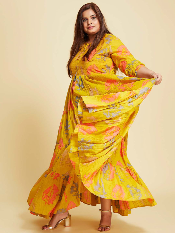 left side cotton printed flared maxi dress plus size with mustard coloured