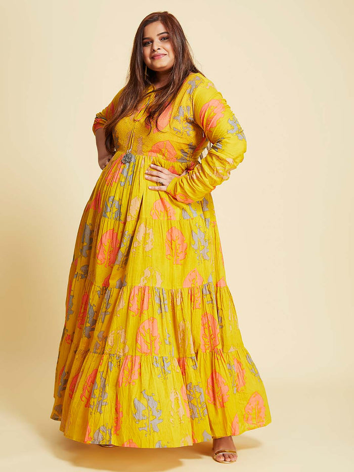 casual wear cotton printed flared maxi dress plus size with mustard coloured