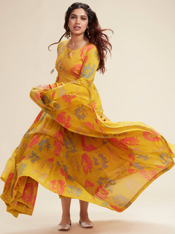 Mustard Cotton Printed Flared Maxi Dress
