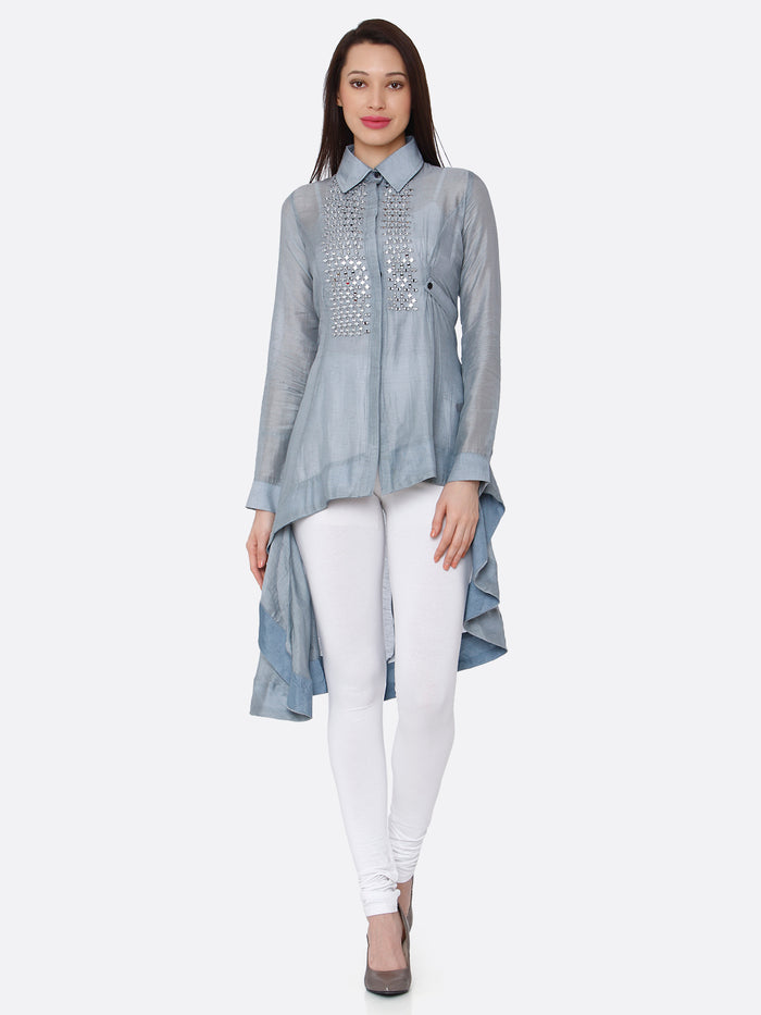 Light Blue Embroidered Cotton Silk Asymmetric Tunic