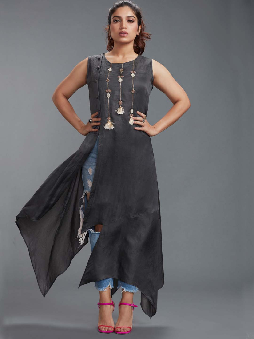 Grey Cotton Silk Plain Kurti