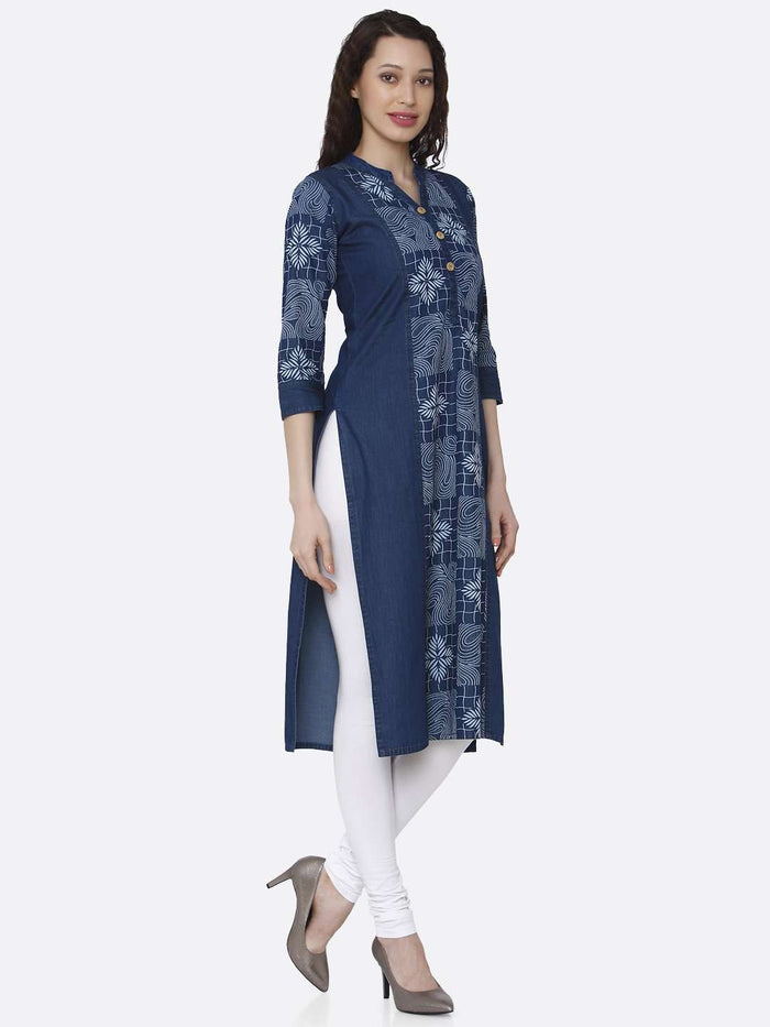Right Side Navy Blue Printed Cotton Denim Kurti