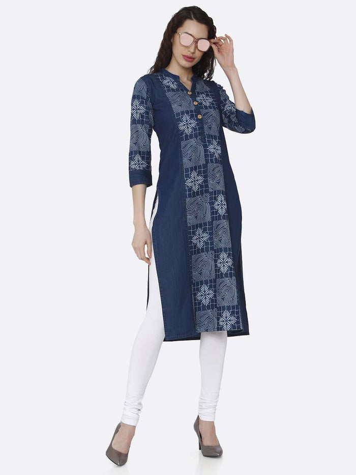 Front Side Casual Navy Blue Printed Cotton Denim Kurti With White Palazzo Pant
