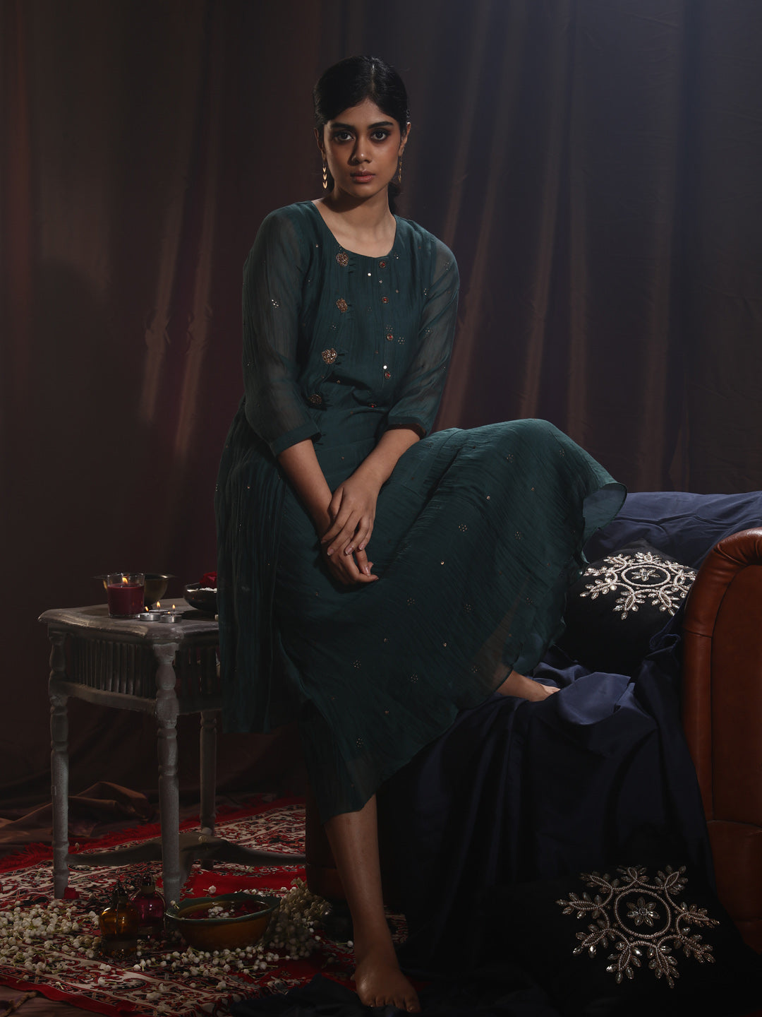 Green Embroidered  Muslin Georgette Kurti