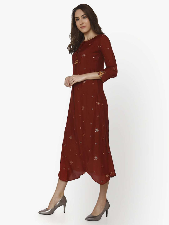 Left Side Muslin Georgette Kurti With Maroon Color