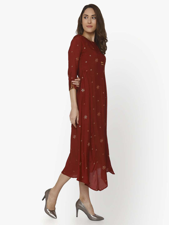 Right Side Muslin Georgette Kurti With Maroon Color