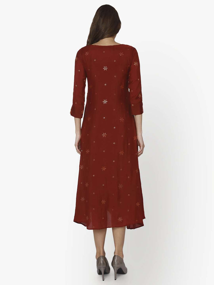 Back Side Muslin Georgette Kurti With Maroon Color