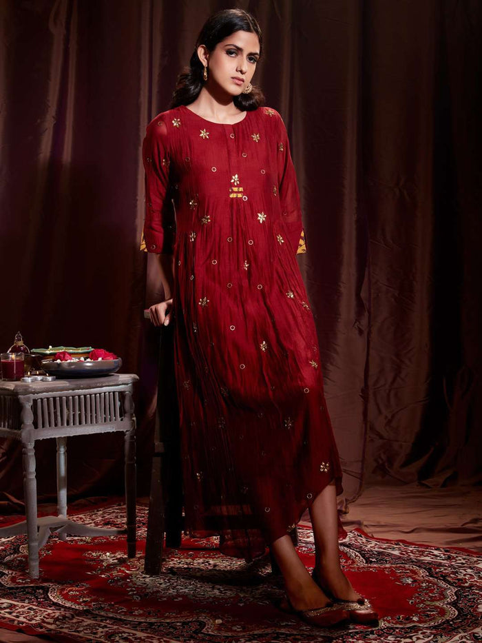 Front Side Muslin Georgette Kurti With Maroon  Color