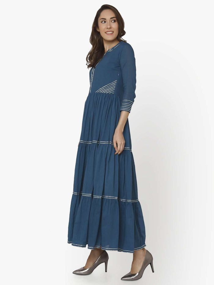 Left Side Shab Blue Cotton Muslin Long Dress