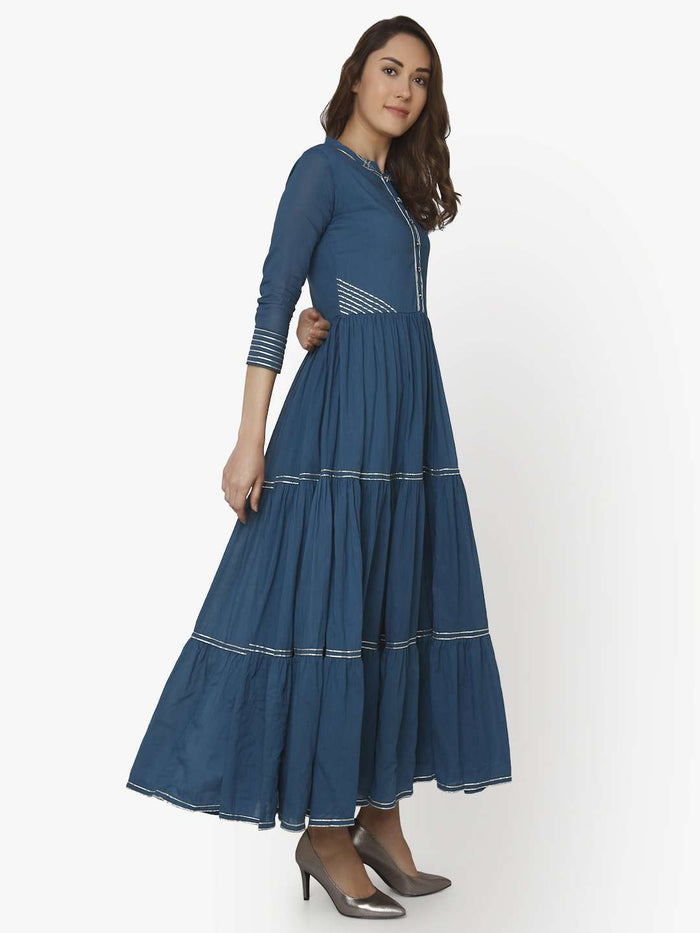 Right Side Shab Blue Cotton Muslin Long Dress
