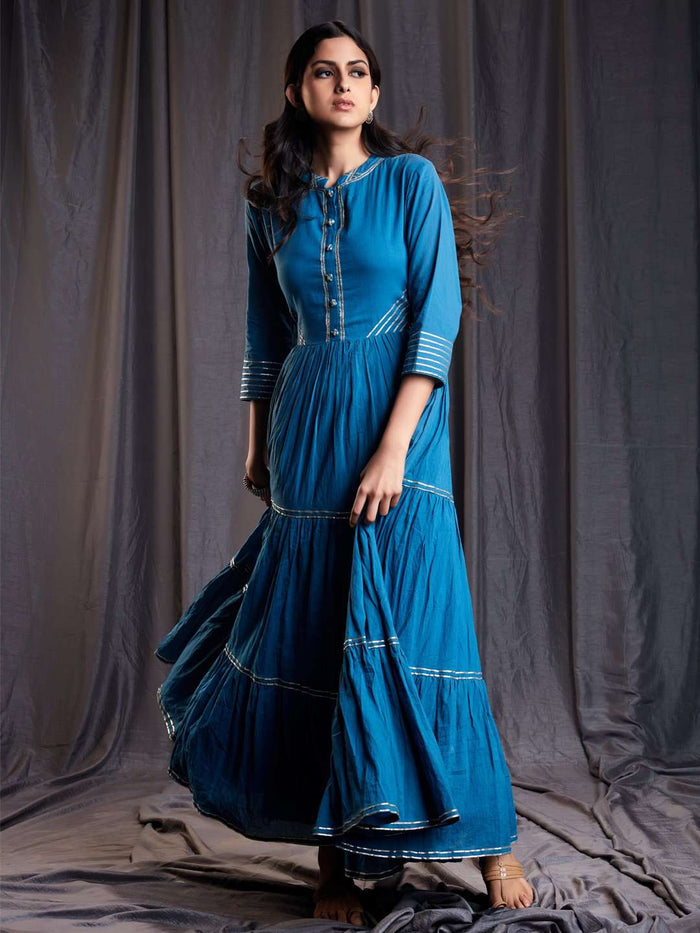 Front Side Shab Blue Cotton Muslin Long Dress