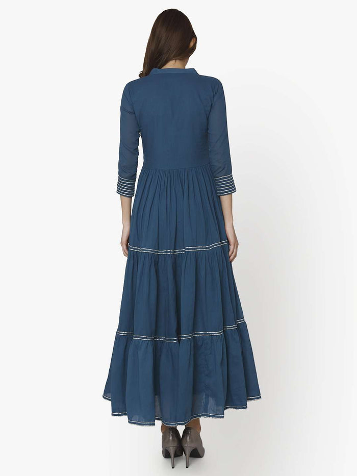 Back Side Shab Blue Cotton Muslin Long Dress
