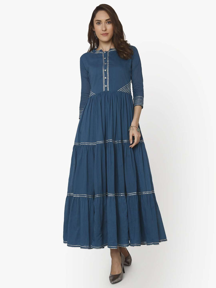 Casual Shab Blue Cotton Muslin Long Dress