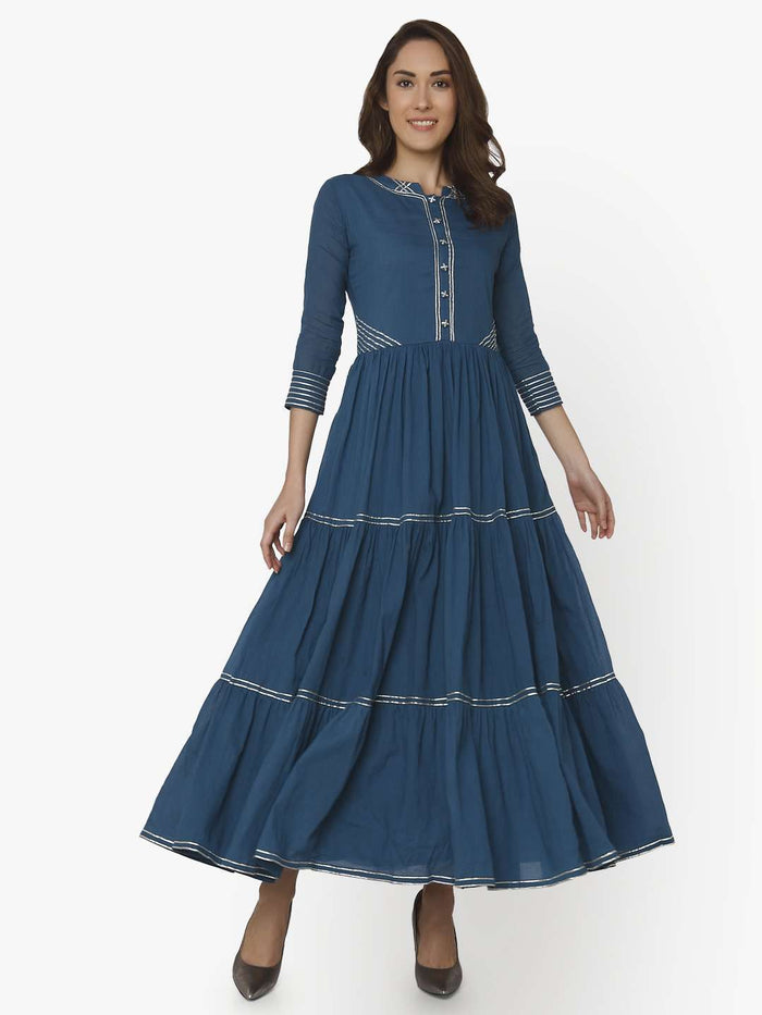 Front Side Cotton Muslin Long Dress With Shah Blue Color