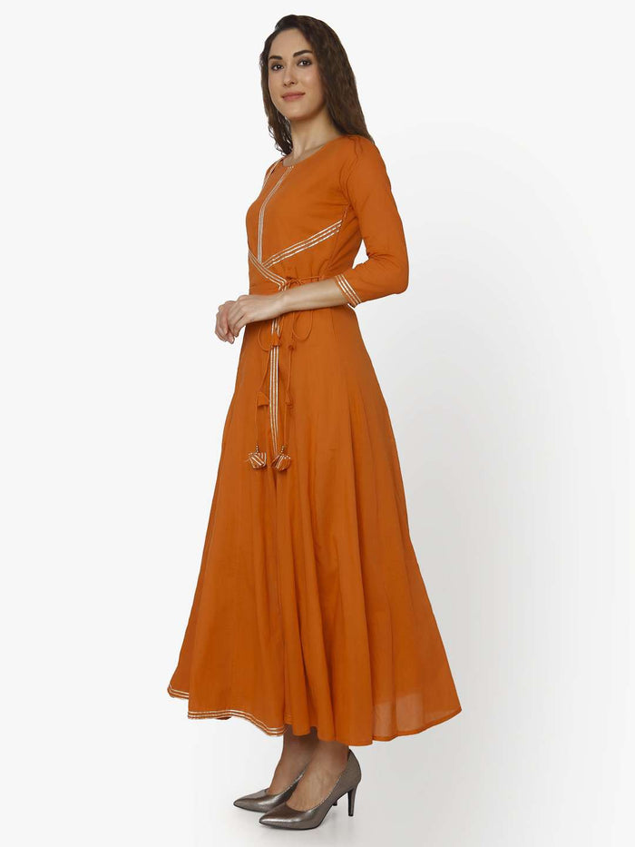 Left Side Nagma Orange Cotton Muslin Long Dress