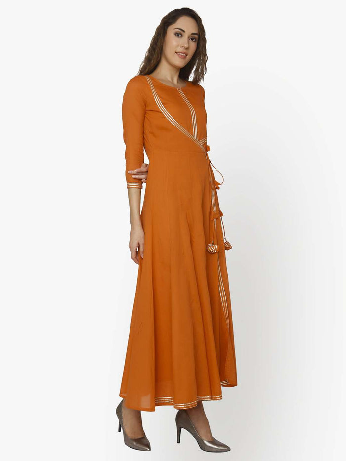 Right Side Nagma Orange Cotton Muslin Long Dress