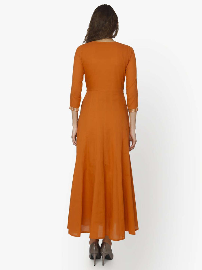 Back Side Nagma Orange Cotton Muslin Long Dress