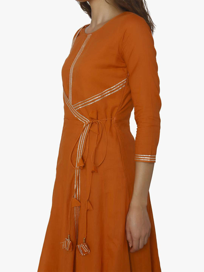 Left Side Cotton Muslin Long Dress With Orange Color