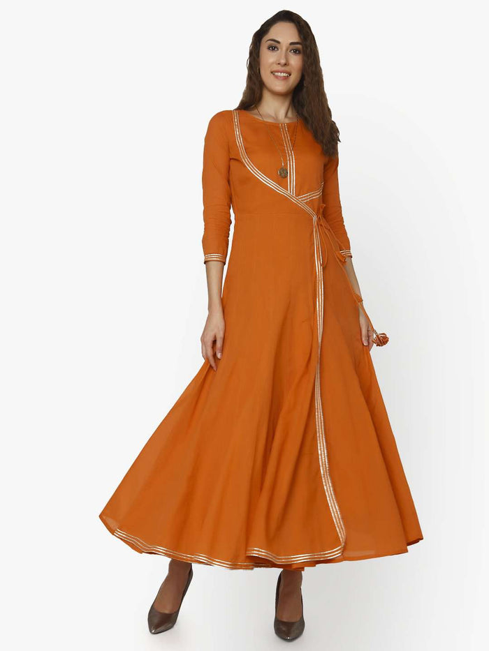 Front Side Casual Nagma Orange Cotton Muslin Long Dress