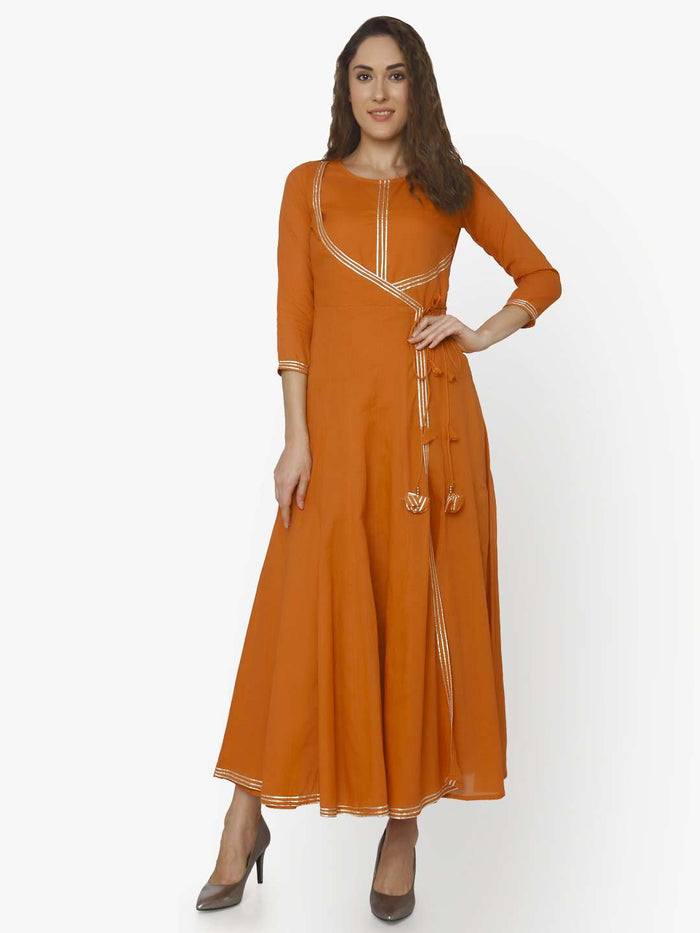 Front Side Cotton Muslin Long Dress With Nagma Orange Color