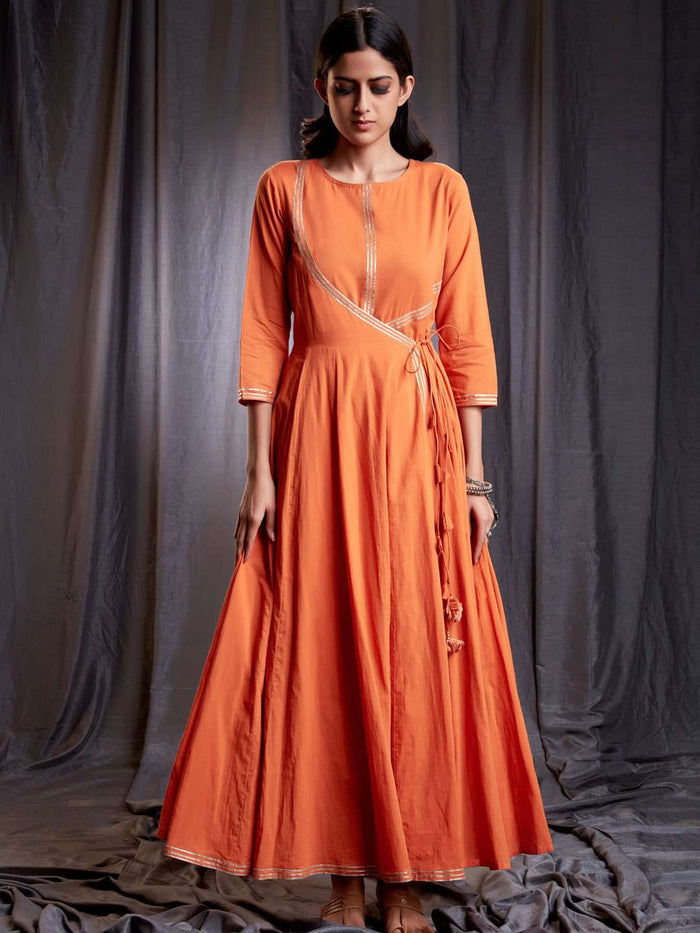 Front Side Nagma Orange Cotton Muslin Long Dress