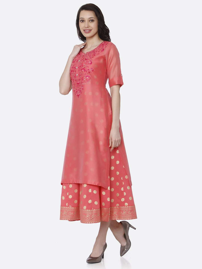 Left Side Pink Embroidered Silk A-Line Dress
