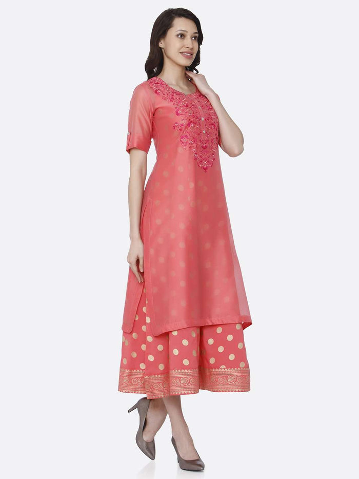 Right Side Pink Embroidered Silk A-Line Dress